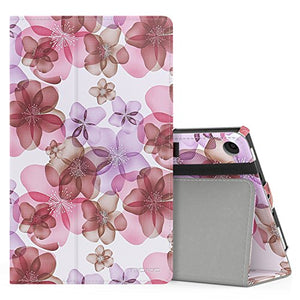 MoKo Case for All-New Amazon Fire HD 8 Tablet (7th Generation, 2017 Release Only) - Slim Folding Stand Cover for Fire HD 8, Floral PURPLE (with Auto Wake / Sleep)