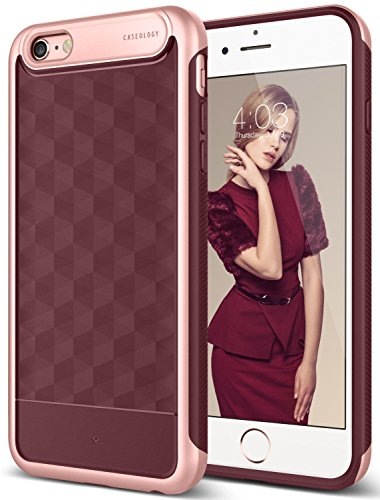 iPhone 6S Plus Case, Caseology [Parallax Series] Slim Dual Layer Textured Geometric Corner Cushion Design [Burgundy] for Apple iPhone 6S Plus (2015) / iPhone 6 Plus (2014)