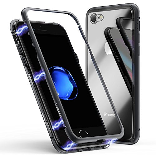 iPhone 8 Case,iPhone 7 Case, ZHIKE Magnetic Adsorption Case Ultra Slim Metal Frame Tempered Glass Back with Built-in Magnet Flip Cover for Apple iPhone 7/8 (Clear Black)