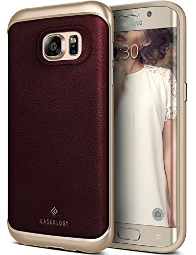 Galaxy S7 Edge Case, Caseology [Envoy Series] Slim Premium PU Leather Dual Layer Protective Corner Cushion Design [Leather Cherry Oak] for Samsung Galaxy S7 Edge (2016)