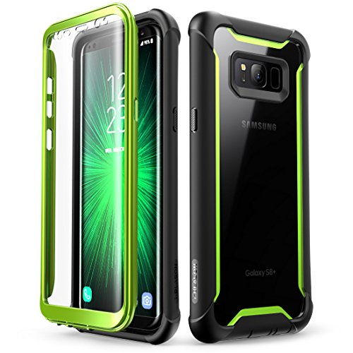 Samsung Galaxy S8+ Plus case, i-Blason Full-body Rugged Clear Bumper Case with Built-in Screen Protector for Samsung Galaxy S8+ Plus 2017 Release (Black/Green)