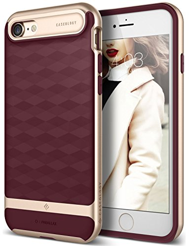 iPhone 7 Case / iPhone 8 Case Caseology [Parallax Series] Slim Dual Layer Protective Textured Geometric Cover Corner Cushion Design for Apple iPhone 7 (2016) / iPhone 8 (2017) - Burgundy / Gold