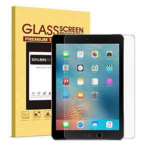 "iPad 9.7"" (2017) / iPad Pro 9.7 / iPad Air 2 / iPad Air Screen Protector, SPARIN Tempered Glass Screen Protector - Apple Pencil Compatible / 2.5D Round Edge / Scratch Resistant"