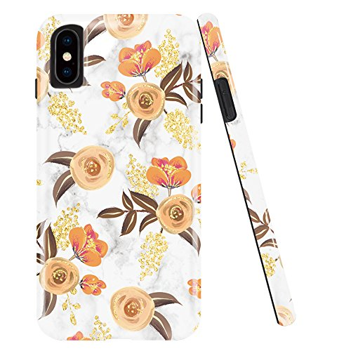 iPhone X Case,iPhone 10 Case,DOUJIAZ Chrome Gold Bud Flower & White Marble Design Clear Bumper TPU Soft Case Rubber Silicone Skin Cover for iPhone X (2017)