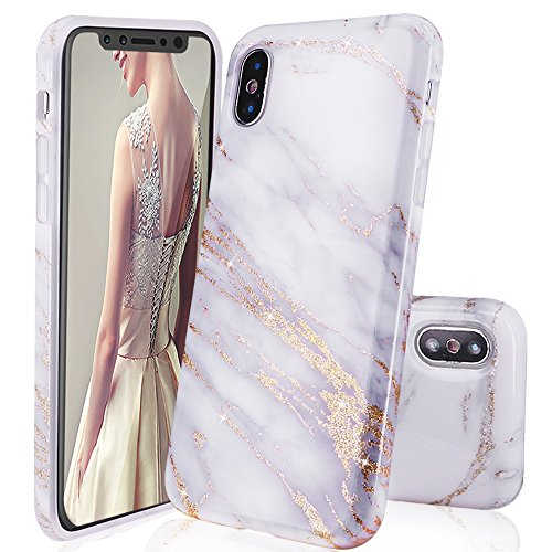 iPhone X Case,DOUJIAZ Luxury Bling Sparkly Gold Metalli & Off-White Marble Design Clear Bumper TPU Soft Case Rubber Silicone Skin Cover for for iPhone X (2017)