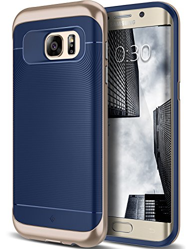 Galaxy S7 Edge Case, Caseology [Wavelength Series] Slim Dual Layer Protective Textured Grip Corner Cushion Design [Navy Blue] for Samsung Galaxy S7 Edge (2016)