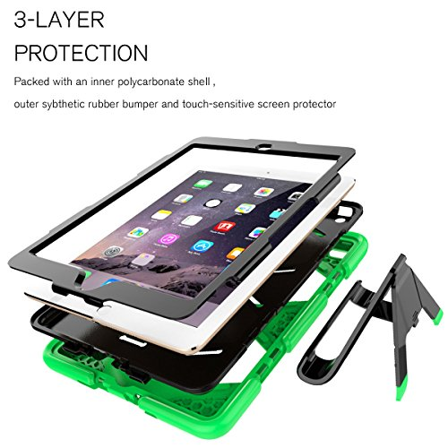 finest selection a063f ab6de iPad 9.7 Case 2018/iPad 9.7 2017 Case,Heavy Duty Shockproof Hybrid Screen  Protector Rugged Rubber Protective Stand Case for Apple iPad 9.7 2018 6th  ...