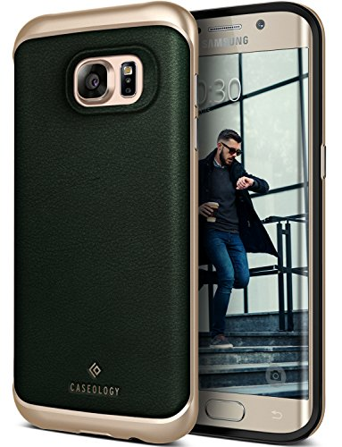 Galaxy S7 Edge Case, Caseology [Envoy Series] Slim Premium PU Leather Dual Layer Protective Corner Cushion Design [Leather Green] for Samsung Galaxy S7 Edge (2016)