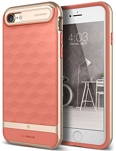 iPhone 8 Case / iPhone 7 Case Caseology [Parallax Series] Slim Dual Layer Protective Textured Geometric Cover Corner Cushion Design for Apple iPhone 7 (2016) / iPhone 8 (2017) - Pink
