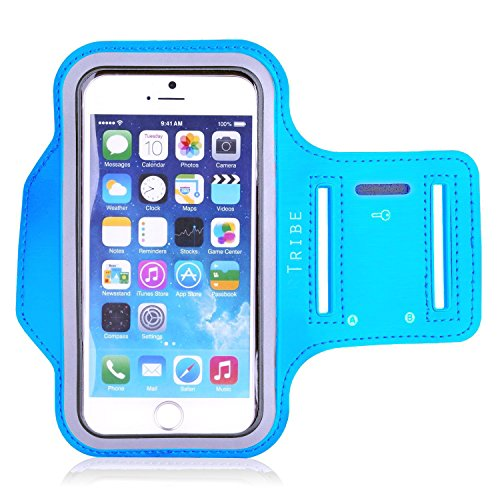 Tribe Water Resistant Sports Armband with Key Holder for iPhone 6 Plus, 6S Plus (5.5-Inch), Galaxy S6/S5, Note 4, Google Pixel Bundle with Screen Protector - Light Blue