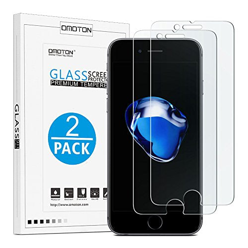 OMOTON iPhone 7 Plus Screen Protector [2 Pack]- [9H Hardness] [Crystal Clear] [Bubble ] [3D Touch Compatible] Tempered Glass Screen Protector for Apple iPhone 7 Plus