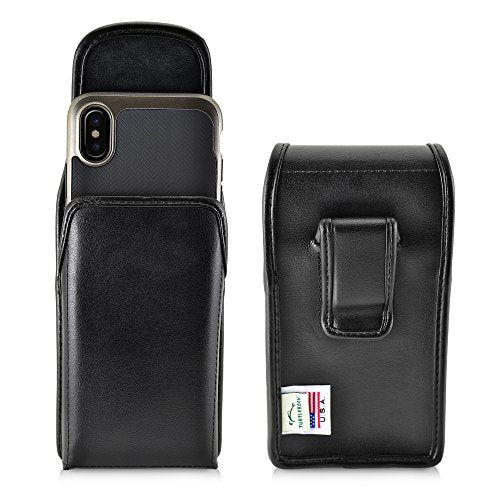 Turtleback Holster for iPhone X 10 Black Vertical Belt Case Leather Pouch with Executive Belt Clip, Horizontal Made in USA