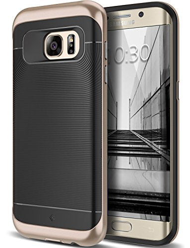 Galaxy S7 Edge Case, Caseology [Wavelength Series] Slim Dual Layer Protective Textured Grip Corner Cushion Design [Black / Gold ] for Samsung Galaxy S7 Edge (2016)