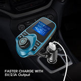 Nulaxy Wireless In-Car Bluetooth FM Transmitter Radio Adapter Car Kit with 1.44 Inch Display and USB Car Charger - Peacock Blue
