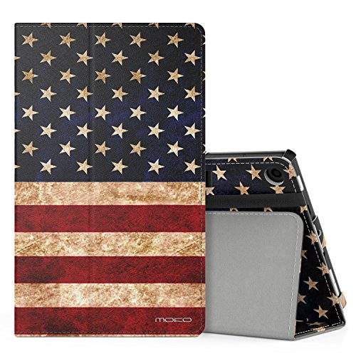 MoKo Case for All-New Amazon Fire HD 8 Tablet (7th Generation, 2017 Release Only) - Slim Folding Stand Cover for Fire HD 8, US Flag (with Auto Wake / Sleep)