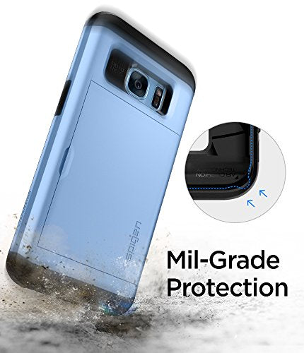 promo code 7036c 4fe2a Spigen Slim Armor CS Galaxy S7 Edge Case with Slim Dual Layer Wallet Design  and Card Slot Holder for Galaxy S7 Edge - Blue Coral