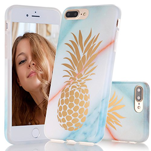 iPhone 7 Plus Case, Shiny Gold Pineapple Teal Marble Design, BAISRKE Clear Bumper Matte TPU Soft Rubber Silicone Cover Phone Case for Apple iPhone 7 Plus