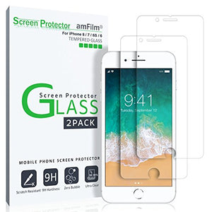 iPhone 8, 7, 6S, 6, Screen Protector Glass, amFilm iPhone 8, 7 Tempered Glass Screen Protector for Apple iPhone 8, 7, iPhone 6S, iPhone 6 2017 2016, 2015 (2-Pack)