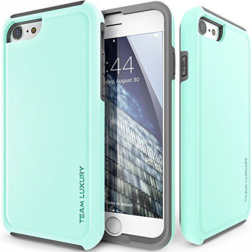 iPhone 8 Case, TEAM LUXURY Ultra Slim Defender TPU + PC [Shock Absorbent] Turquoise Premium Protective Case - for Apple iPhone 7 & iPhone 8 (Soft Mint/ Gray)