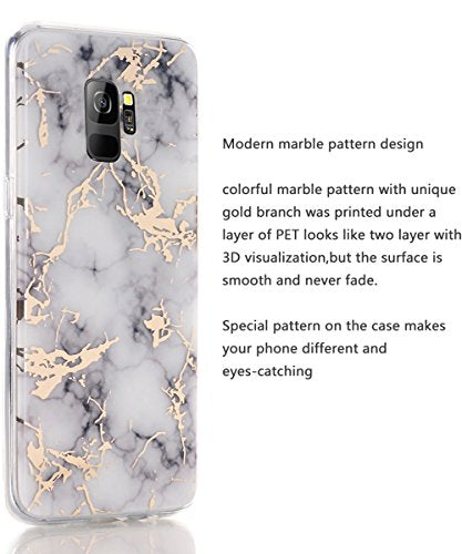 big sale d0474 ad674 Galaxy S9 Case,Samsung Galaxy S9 Case,Spevert Marble Pattern Hybrid Hard  Back Soft TPU Raised Edge Ultra-Thin Shock Absorption Slim Protective Cover  ...