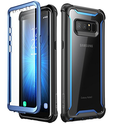 Samsung Galaxy Note 8 case, i-Blason [Ares] Full-body Rugged Clear Bumper Case with Built-in Screen Protector for Samsung Galaxy Note 8 2017 Release (Black/Blue)
