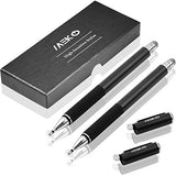 MEKO (2-in-1 Precision Series) Disc Stylus Styli (2 Pcs) for all iPads,iPhones,tablets, Laptops and all Touch Screen Devices Bundle with 4 Replacement Disc Tips, 2 Fiber Tips (Black/Black)