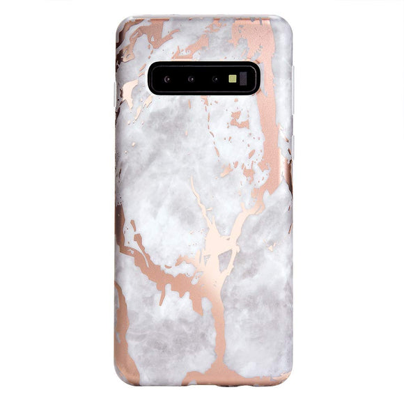 Rose Gold Chrome White Marble Galaxy S10 Plus Case - Cute Premium Protective Phone Cases for Girls Women [Drop Test Certified] Cover Compatible with Samsung Galaxy S10 Plus