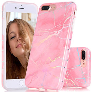 "iPhone 7 Plus Case, BAISRKE Laser Style Marble Design Cover, Colorful Lines Bling Bling Sparkling Shiny Flexible Glossy Soft Rubber TPU Case for iPhone 7 Plus 5.5"" [Pink Marble]"