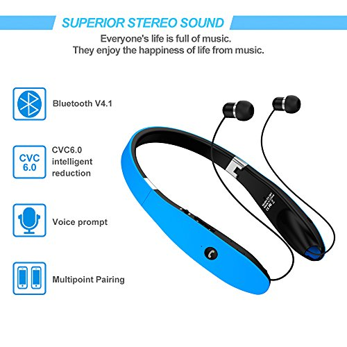 a3a7eb8e20b ... Bluetooth Headset, Bluetooth Headphones SX991-LBell Wireless Neckband  Design with Foldable Retractable Headset for ...