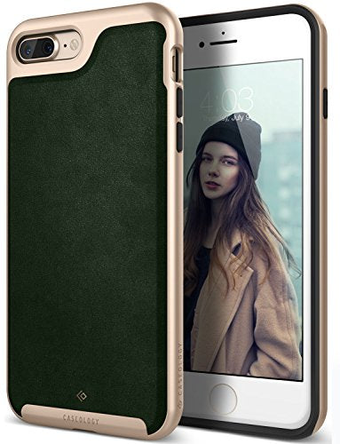 iPhone 8 Plus Case / iPhone 7 Plus Case Caseology [Envoy Series] Slim Premium PU Leather Protective Corner Cushion Design for Apple iPhone 7 Plus (2016) / iPhone 8 Plus (2017) - Leather Green