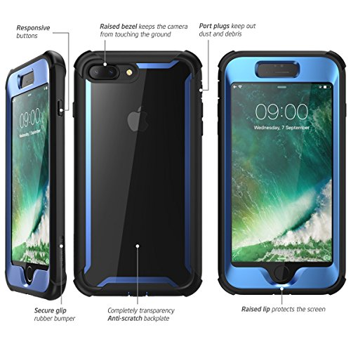 newest 00332 6d8d3 iPhone 8 Plus case, iPhone 7 Plus case, i-Blason [Ares] Full-body Rugged  Clear Bumper Case with Built-in Screen Protector for Apple iPhone 8 ...