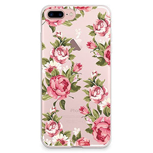 best website 94279 072e1 iPhone 8 Plus Case, iPhone 7 Plus Case, CasesByLorraine Red Rose Floral  Pattern Clear Transparent Case Flexible TPU Soft Gel Protective Cover for  ...