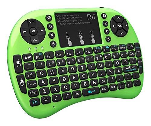 Rii i8+ BT Mini Wireless Bluetooth Backlight Touchpad Keyboard with Mouse for PC/Mac/Android, Green (RTi8BT-4)