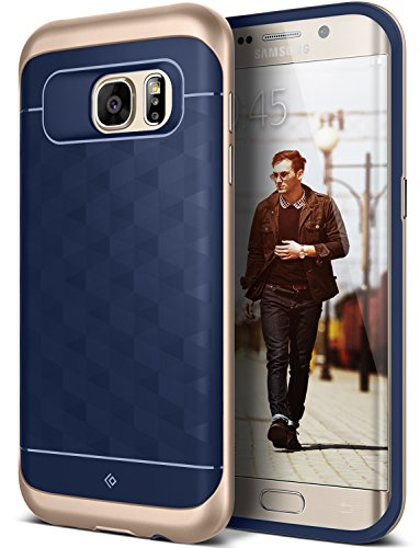 Galaxy S7 Edge Case, Caseology [Parallax Series] Slim Premium PU Leather Dual Layer Protective Corner Cushion Design [Navy Blue] for Samsung Galaxy S7 Edge (2016)