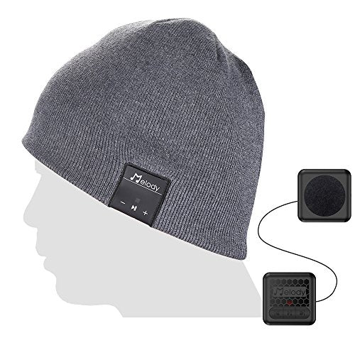 Bluetooth Beanie Cap, Coeuspow Wireless 4.1 Stereo Bluetooth Earphones Hat with CVC 6.0 Noise Cancelling,Built-in Mic Hand Free and Rechargeable Battery for All Cell Phones,Ipad,PDA-Grey