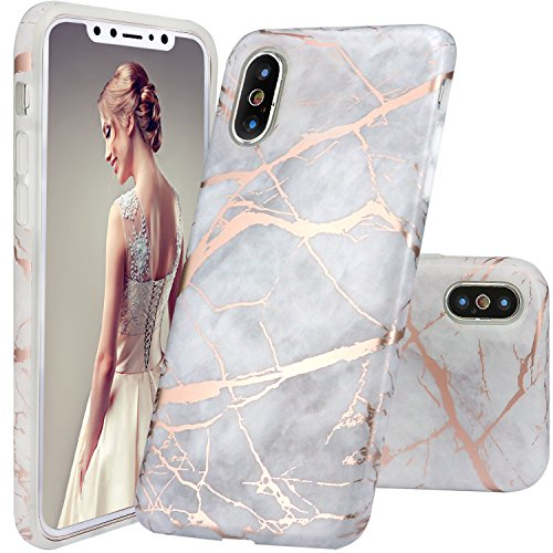 DOUJIAZ iPhone X Case, Gray Rose Gold Marble Design Clear Bumper TPU Soft Case Rubber Silicone Skin Cover Case for iPhone X 2017
