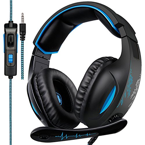 Gaming Headset for Xbox One, PS4, PC, Controller, Over Ear Bass Surround Headphones with Noise Cancelling Mic, Soft Memory Earmuffs for Computer Mac Laptop Nintendo Switch Games