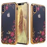 iPhone X Case, ZHFLY Bling Diamond Soft TPU Silicone Transparent Clear Case Electroplate Bumper with 360 Degree Metal Ring Holder Stand Cover for Apple iPhone X, Gold Flower + Heart Ring