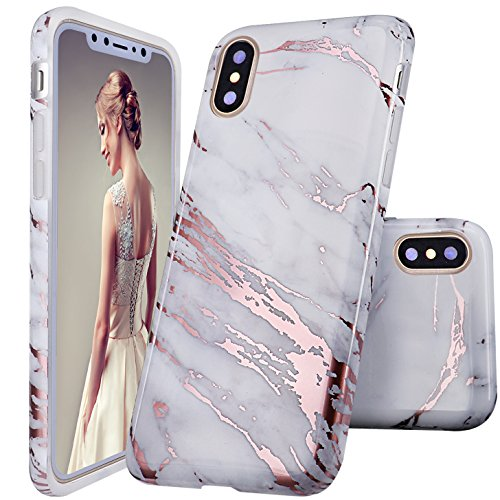 iPhone X Case,DOUJIAZ Shiny Rose Gold Metallic White Marble Design Clear Bumper Glossy TPU Soft Rubber Silicone Cover Phone Case for iPhone X (2017)