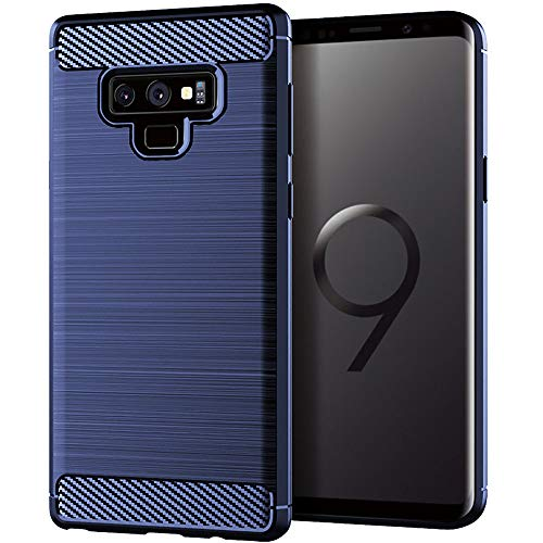 Moment Dextrad for Note 9 Case,Anti-Fingerprint Protective Bumper Soft TPU Cover with Shock-Absorption and Carbon Fiber Design for Samsung Galaxy Note 9 + Stylus (Navy Blue)
