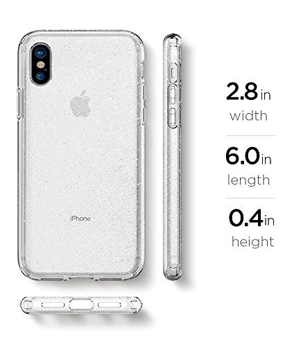 half off 4f4fb 56e34 Spigen Liquid Crystal iPhone X Case with Slim Protection and Premium  Clarity for Apple iPhone X (2017) - Glitter Crystal Quartz