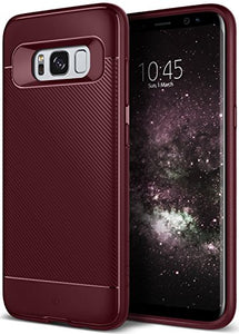 Galaxy S8 Plus Case, Caseology [Vault II Series] Slim Protective Shock Absorbing TPU Textured Grip Corner Cushion Design [Burgundy] for Samsung Galaxy S8 Plus (2017)