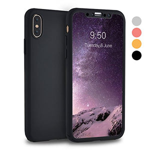 timeless design 769d8 996a7 iPhone X Case, iPhone 10 Case, VANSIN 360 Full Body Protection Hard Slim  Case Coated Non Slip Matte Surface with Tempered Glass Screen Protector for  ...