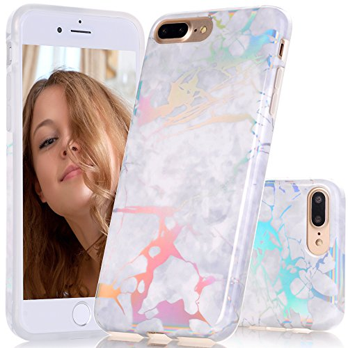 iPhone 7 Plus Case, BAISRKE Laser Style Marble Design Cover, Colorful Lines Bling Bling Sparkling Shiny Flexible Glossy Soft Rubber TPU Case for iPhone 7 Plus 5.5