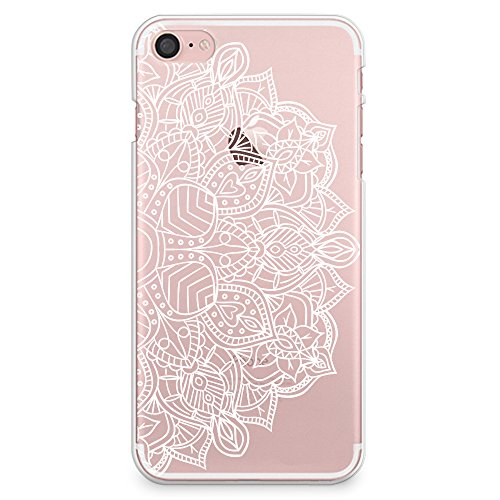 iPhone 8 Case, iPhone 7 Case, CasesByLorraine White Mandala Henna Pattern Clear Transparent Case Slim Hard Plastic Back Cover for Apple iPhone 7 & iPhone 8 (P78)