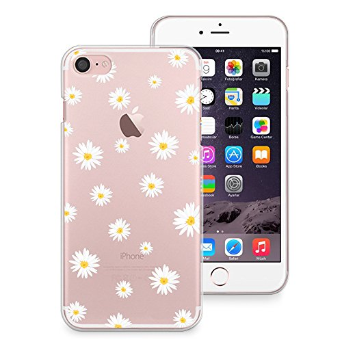 huge discount a21bf 56915 iPhone 8 Case, iPhone 7 Case, CasesByLorraine Cute Daisy Floral Flowers  Clear Transparent Case Slim Hard Plastic Back Cover for Apple iPhone 7 & ...