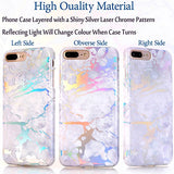 "iPhone 7 Plus Case, BAISRKE Laser Style Marble Design Cover, Colorful Lines Bling Bling Sparkling Shiny Flexible Glossy Soft Rubber TPU Case for iPhone 7 Plus 5.5"" [White Marble]"