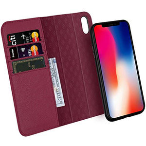 the best attitude 56815 a1659 Zover iPhone X Case Detachable Genuine Leather Wallet Case With Auto  Sleep/Wake Function Support Wireless Charging Magnetic Car Mount Holder  Kickstand ...