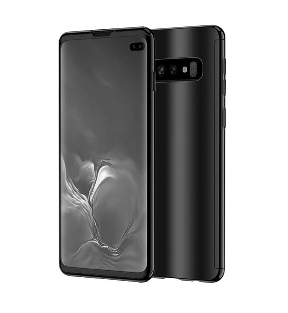 Galaxy S10 Plus Case, Ultra Slim Electroplate 360 Degree Full Body Protection Mirror Case with Tempered Glass Screen Hard PC Protector for Samsung Galaxy S10 Plus (Black)