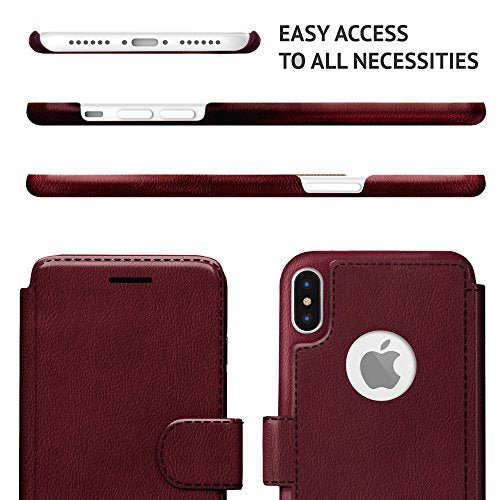 new product 0c07d 5fecf LUPA iPhone X Wallet Case, Durable and Slim, Lightweight with Classic  Design & Ultra-Strong Magnetic Closure, Faux Leather, Burgundy, For Apple  iPhone ...